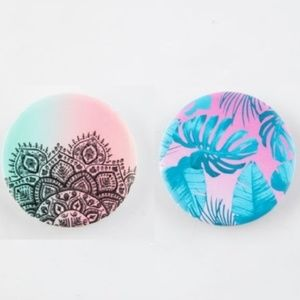 Two POPSOCKETS Mandala & Palm Phone Stand and Grip